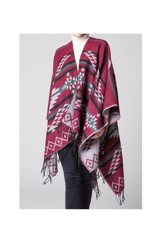 poncho_femme_geometric_motif_indian_style_rouge