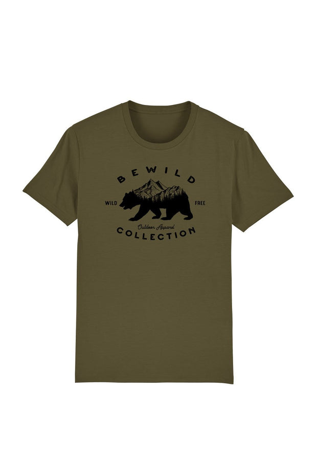 t_shirt_homme_coton_biologique_bear_mountains_bewild_collection_kaki