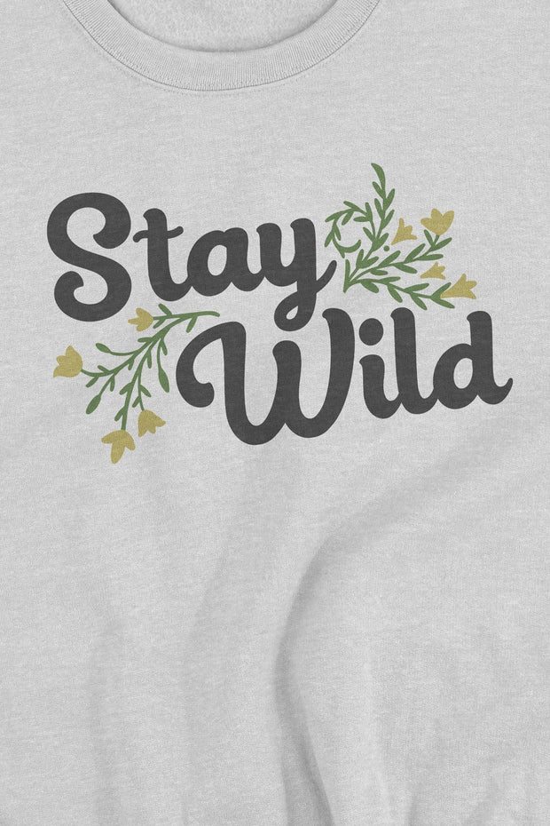 pull_femme_coton_bio_stay_wild_flowers_logo