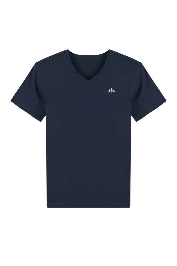 t_shirt_homme_col_v_coton_bio_broderie_sapins_navy