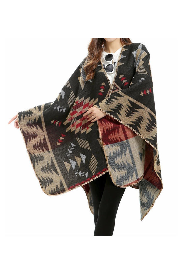 poncho_femme_geometric_motif_indian_style