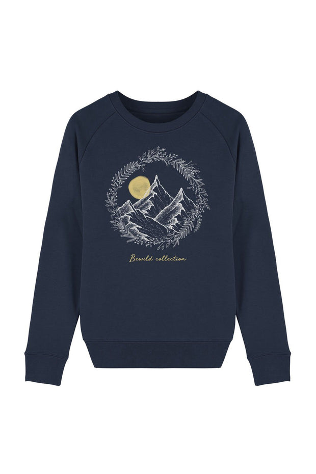 pull_femme_coton_bio_mountains_flowers_navy