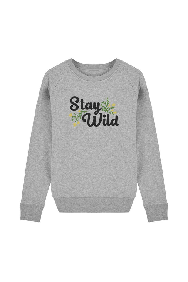 pull_femme_coton_bio_stay_wild_flowers_gris