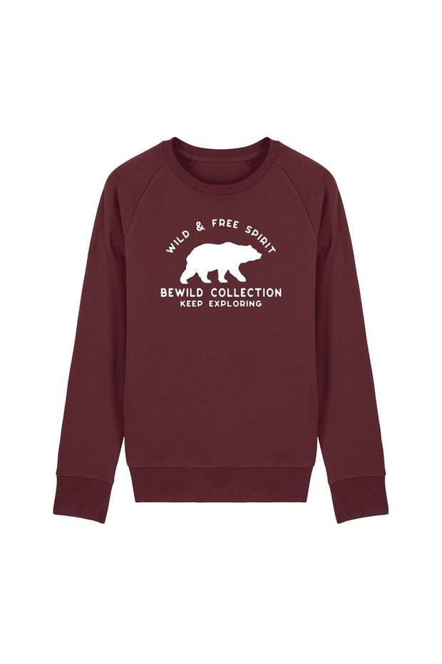 pull_homme_coton_biologique_keep_exploring_ours_rouge