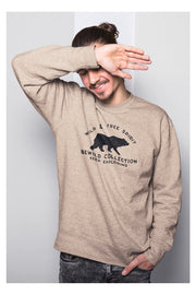 pull_homme_coton_biologique_keep_exploring_ours_beige_clair_modele