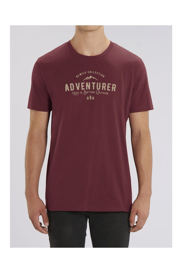 t_shirt_homme_coton_biologique_adventurer_life_is_better_outside_rouge
