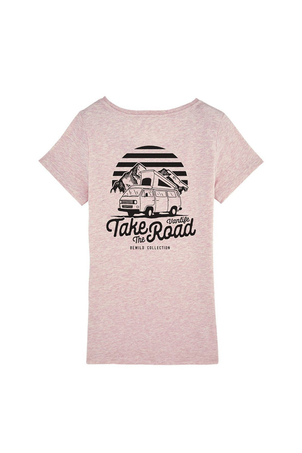 t_shirt_femme_coton_biologique_take_the_road_combi_volkswagen_t3_rose