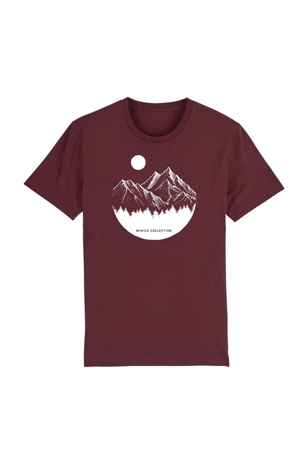 t_shirt_homme_coton_biologique_mountains_circle_pines_rouge