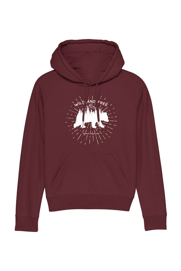 sweat_capuche_femme_coton_bio_ours_wild_free_rouge_sombre