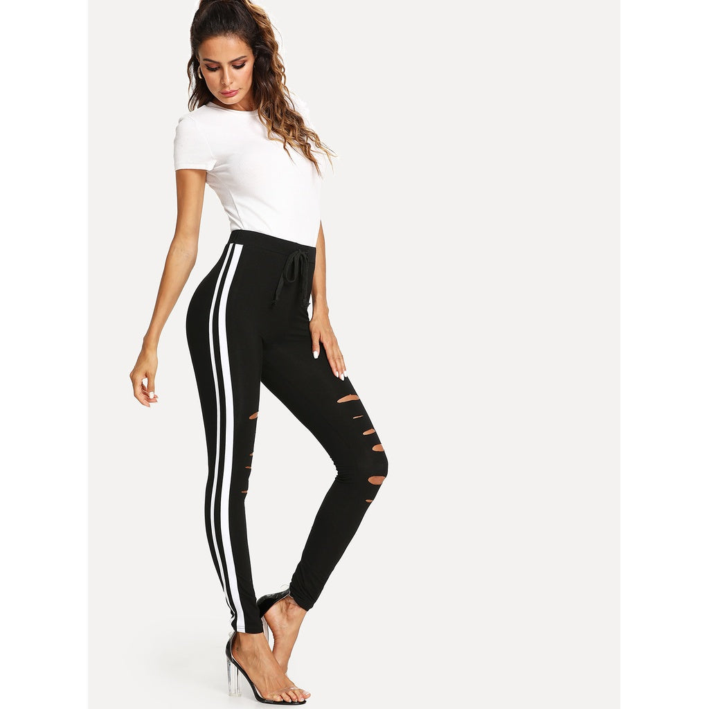 Contrast Tape Side Ripped Leggings - legging7