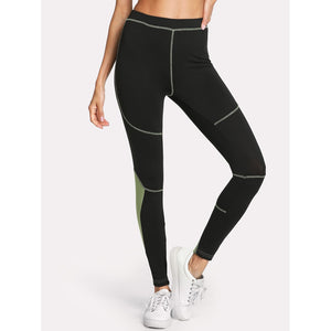 Contrast Panel Stitching Detail Leggings - legging7