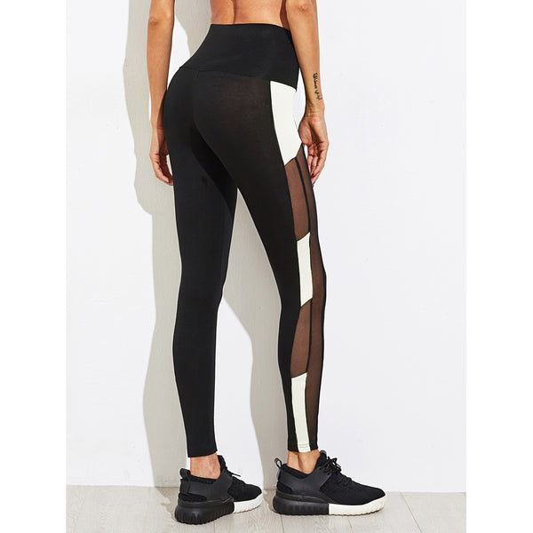 Two Tone Mesh Insert Leggings - legging 7