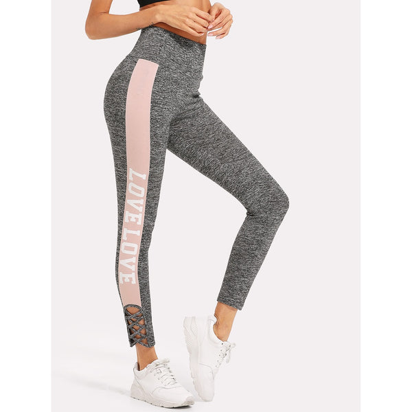Crisscross Contrast Panel Side Marled Leggings - legging7