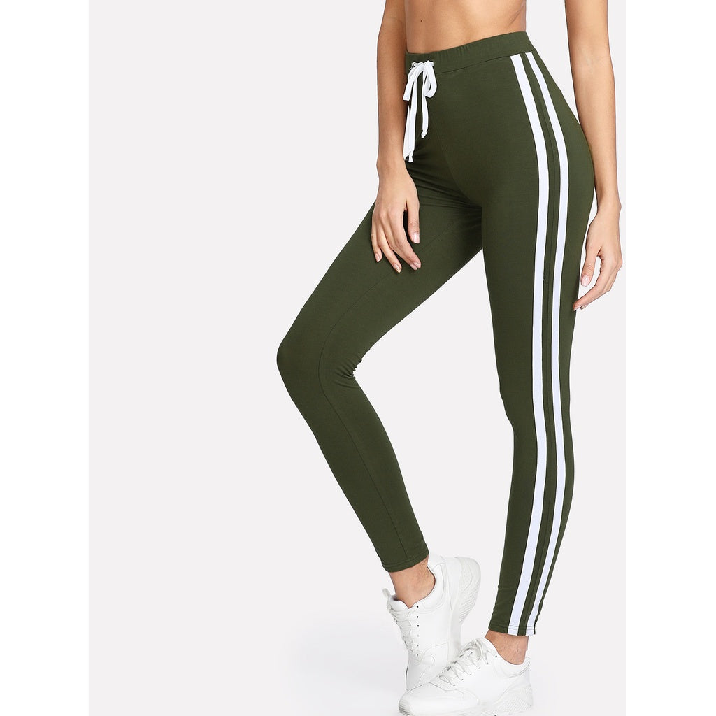Contrast Tape Side Leggings - legging7