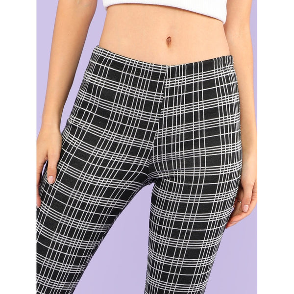 Plaid Print Leggings BLACK - legging7