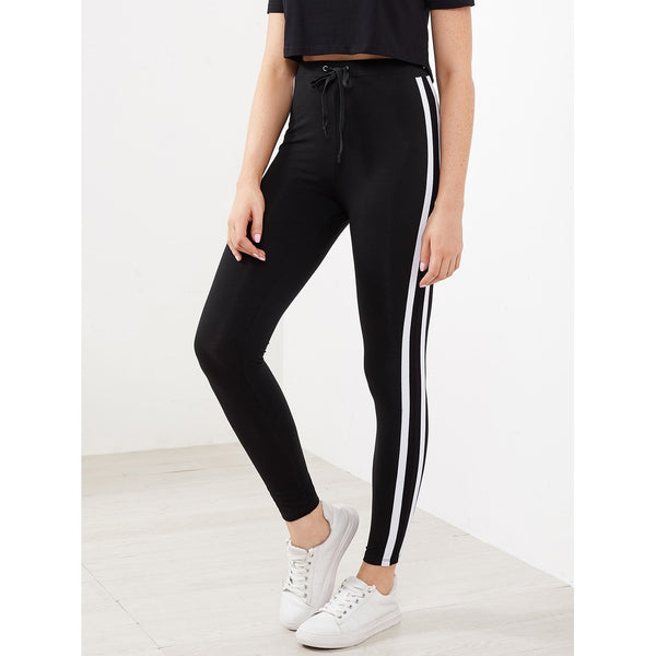Drawstring Waist Side Striped Leggings - legging7