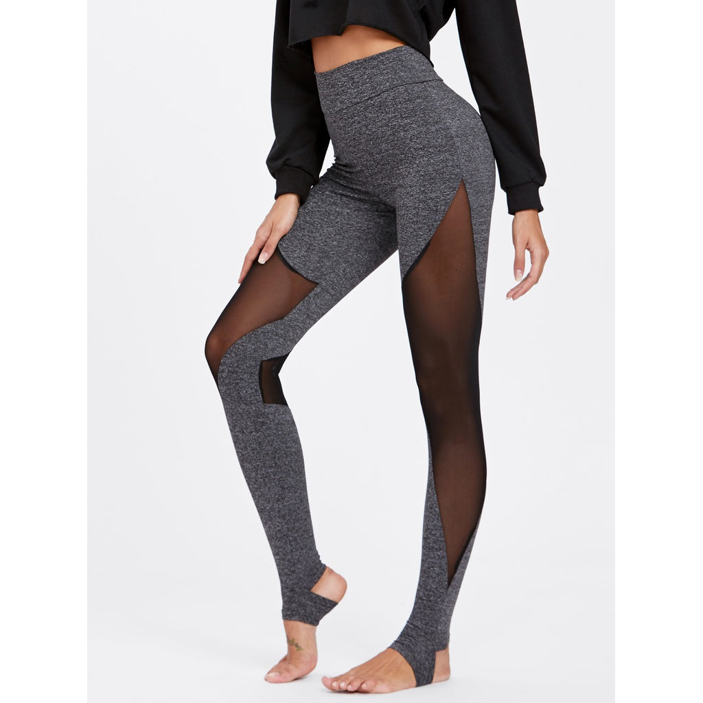 Mesh Insert Heathered Knit Stirrup Leggings - legging 7