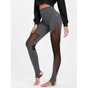 Mesh Insert Heathered Knit Stirrup Leggings - legging7