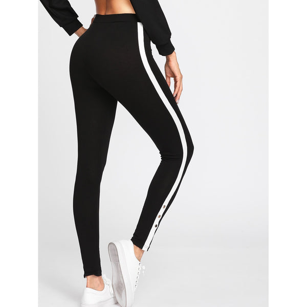 Grommet Detail Contrast Panel Leggings - legging7
