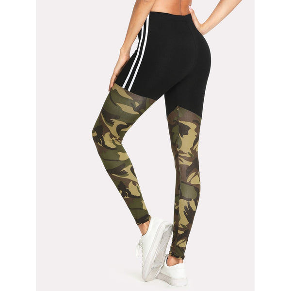 Tape Side Camo Print Leggings - legging 7