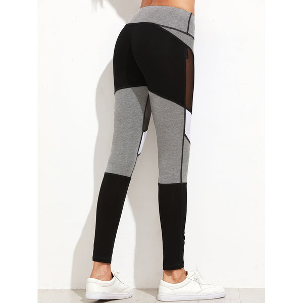Color Block Mesh Insert Heather Knit Leggings - legging7