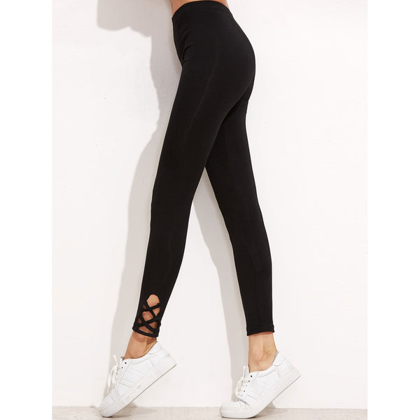 Lattice Hem Empire Leggings - legging7
