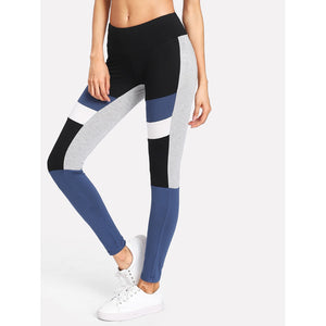 Cut And Sew Striped Leggings - legging7