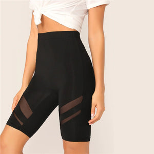 SHEIN Black Solid High Waist Solid Cycling Athleisure Crop Fitness Short