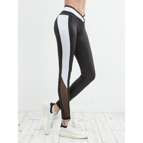 Mesh Panel Color Block Leggings - legging 7