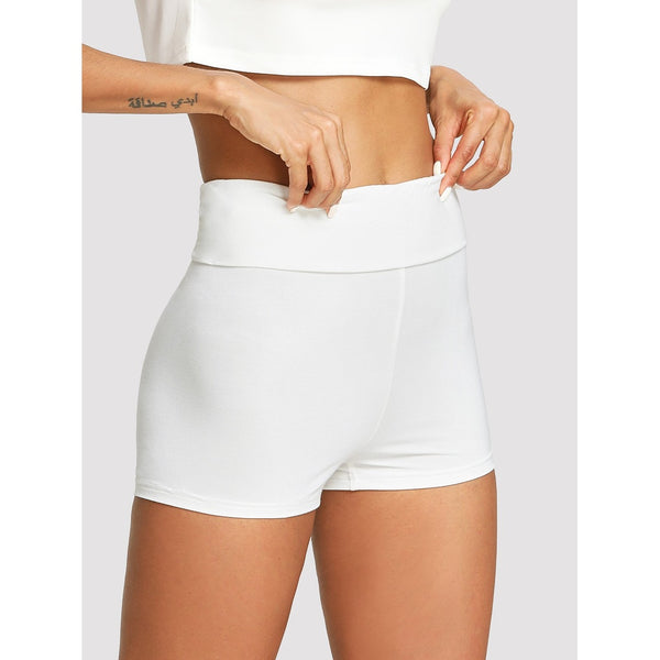 Wide Waist Solid Legging Shorts - legging 7