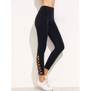 Lattice Hem High Waist Leggings - legging7