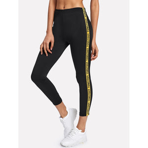 Printed Tape Detail Leggings - legging7