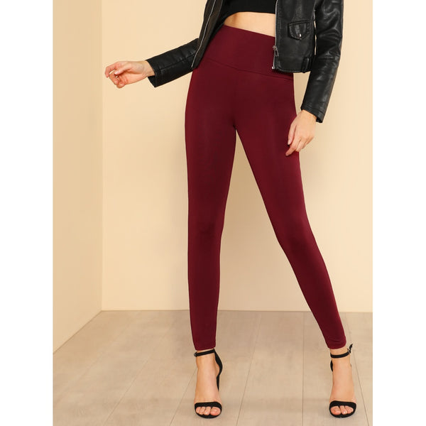 Wide Waistband Solid Leggings - legging 7