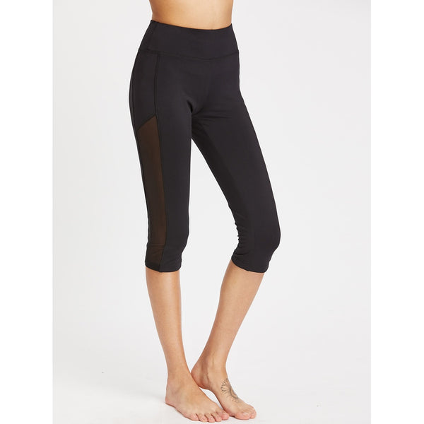 Wide Waistband Mesh Panel Crop Leggings - legging 7