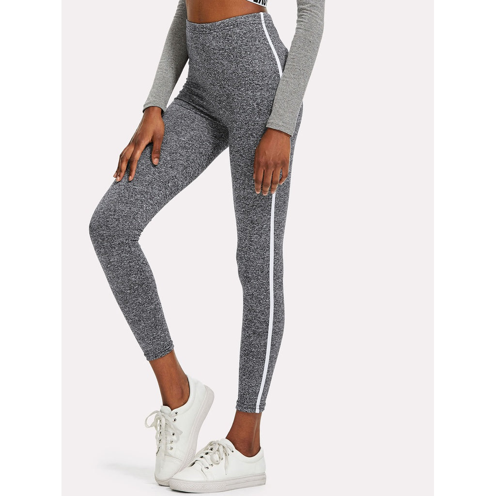 Tape Side Marled Knit Leggings - legging 7