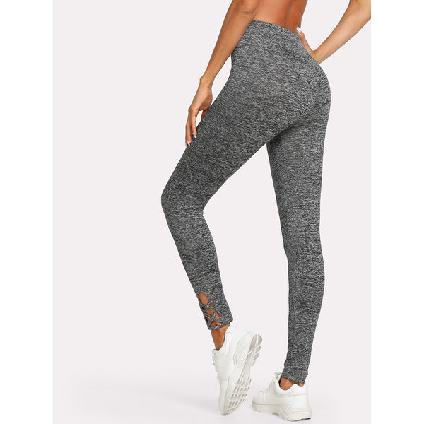 Lattice Hem Marled Knit Leggings - legging7