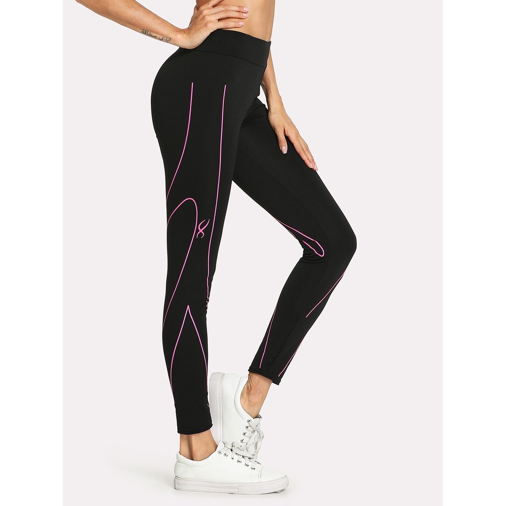 Abstract Stripe Print Leggings - legging7