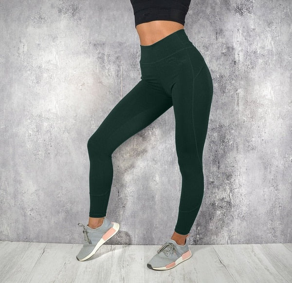 Women Casual High Waist Fitness Leggings Ladies Solid Color