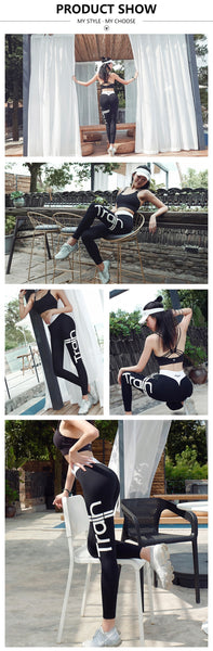 Women Sports Leggings Letter Print Sportswear