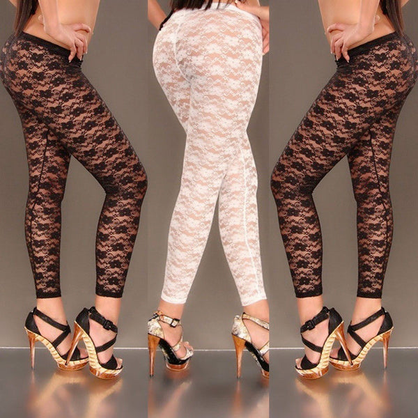 Women Sexy Floral Print Stylish Skinny Lace Hollow Leggings
