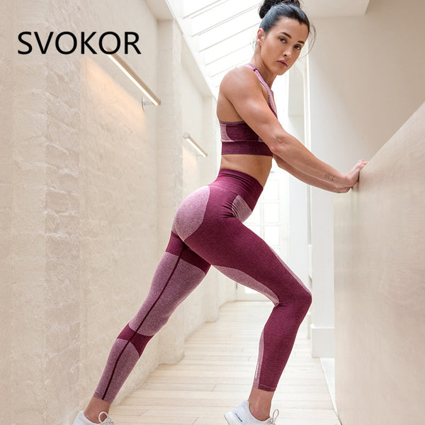 Polyester Women's Leggings For Fitness Ankle-Length Push Up Pants Herat Two-color Stitching Stretching Legging For Girl