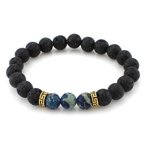 Charm Lava Stone Jewelry Sea Sediment Jasper Beads Stretch Energy Yoga Bracelet - legging7
