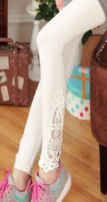 Women cotton lace decoration plus size long leggings - legging 7