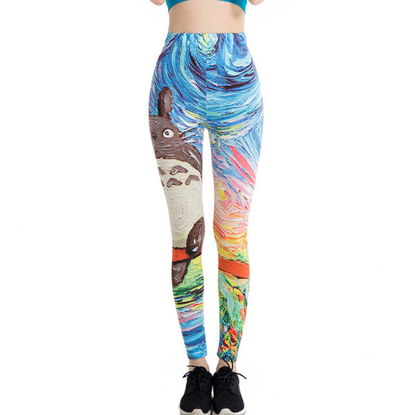 Women Leggings 3D Printed Flower Eye Legins Gradient Leggins - legging 7