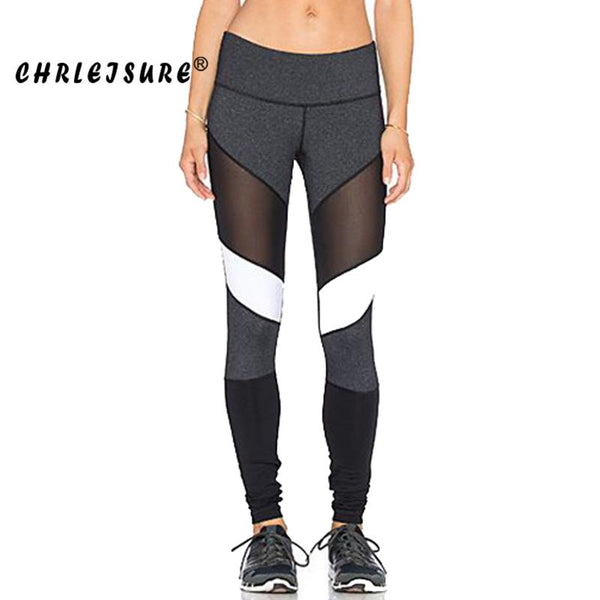 Black White Color Patchwork Fitness Pants - legging7