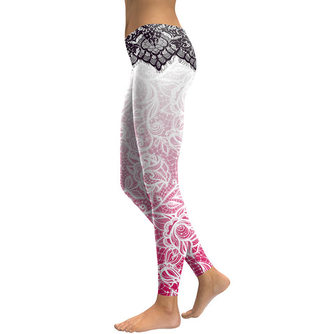 Mandala Flower 3D Digital Printing Slim Pink leggings - legging7