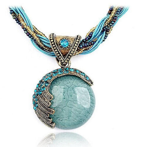 Bohemian Jewelry Statement Necklaces Women Rhinestone Gem Pendant Collar - legging7