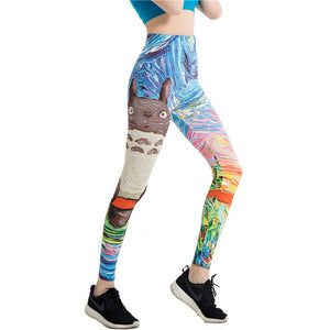 Japanese Harajuku Totoro Print Leggins Push Up - legging7