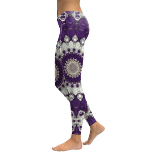 New Arrival Leggings Women Purple Mandala Flower 3D Printed - legging 7