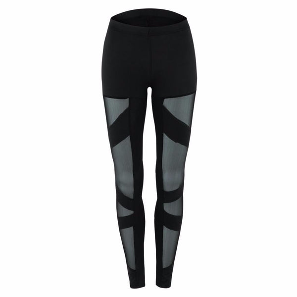 Women Yoga Pants Fitness Leggings Mid Waist Mesh Patchwork Leggings Skinny Pants - legging 7